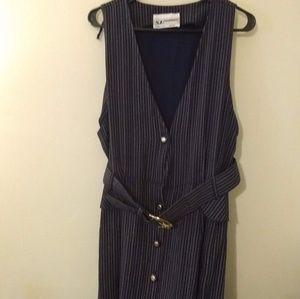 SL Fashions Blue Striped Maxi Dress w/ Belt